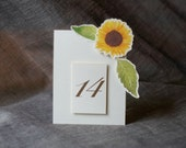 Sunflower Table Number Tents - for Events, Weddings, Parties, Showers, Graduations.