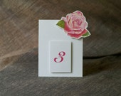 Table Number Tents-Pink Rose - Decoration for Events, Weddings, Showers, Parties