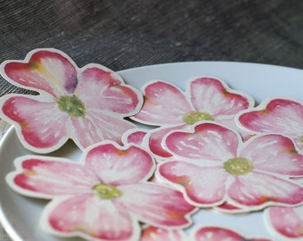 Pink Dogwood Flower Prints - Place cards, wishing tree, wedding decoration, baby shower, escort cards