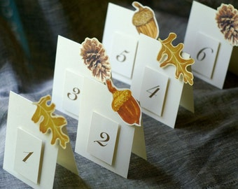 Woodland Table Numbers - Table numbers for weddings, events and parties