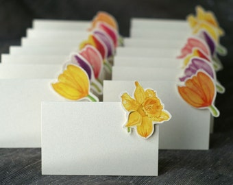 Daffodil and Tulip Mix - Place Card - Gift Card - Table Number Card - Menu Card -weddings events