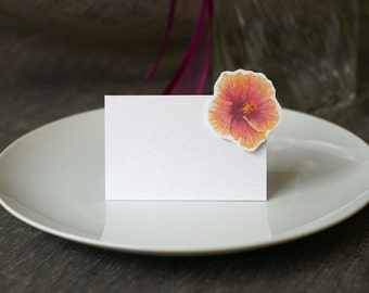 Orange Hibiscus - Place Card - Escort Card- Gift Card - Table Number Card - Menu Card -weddings events