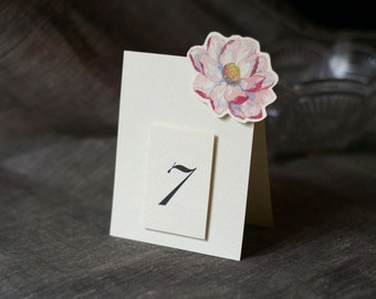Table Number Tents-Pink Magnolia Blossom - Decoration for Events, Weddings, Showers, Parties