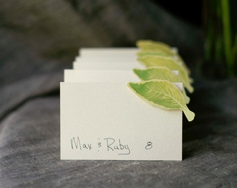 Elm Green Leaf small tent cards - place cards- escort cards - seating - signs