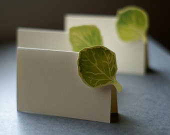 Aspen Green Leaf small tent cards - place cards- escort cards - seating - signs