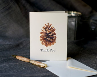 Pine Cone Holiday Cards - A blank notecard to send good wishes