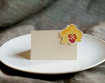 Yellow Orchid Small Tent - Place Card - Gift Card - Table Number Card - Menu Card -weddings events