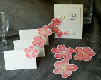 Blossom Table Number Tents - Pink cherry blossom - plum blossom for Events, Weddings, Parties, Showers, Graduations.
