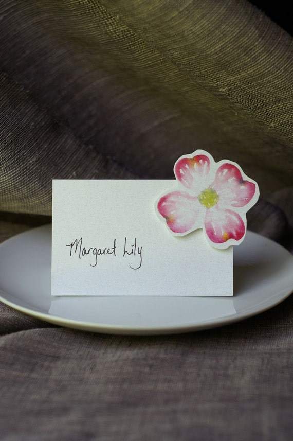 Dogwood Pink Blossom - Place cards, escort cards, small tents, signs for weddings and events