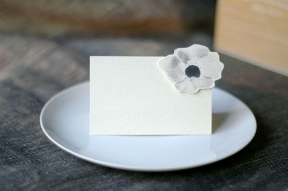Gray Blossoms Small Tents- place cards- escort cards- weddings - events - parties