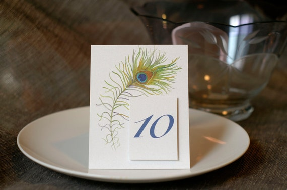 Peacock Feather Table Number Cards - Weddings, Events, Party Decor - Seating