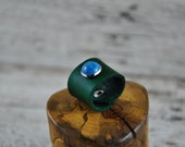 Turquoise Emerald Leather Ring