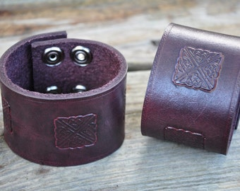 Celtic Knot Leather Cuffs Pair SALE PRICE