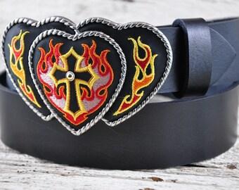 Flaming Cross Buckle Black Leather Belt SALE