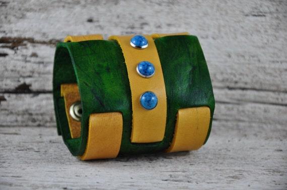 Turquoise Emerald Leather Wrist Cuff