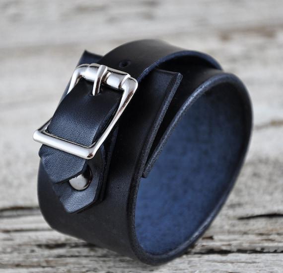 Midnight Black Buckled Leather Cuff