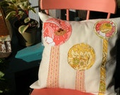 Green/Recycled Pink and Yellow Lollipop Tree Quilted Felt Pillow Cover 18x18