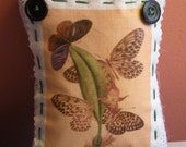 Small Burlap Vintage Butterfly Botanical Image Pillow or Pincushion with button detail