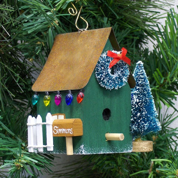 Items similar to Personalized Green Birdhouse Christmas ...