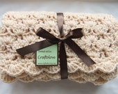 Crochet baby blanket - Baby Boy Blanket - Baby Girl Blanket- Natural Beige Shells Stroller/Travel/Car seat Baby blanket- Unisex baby blanket