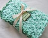 Baby Boy Blanket - Baby Girl Blanket - Crochet baby blanket Mint/Sage green Shells Stroller/Travel/Car seat blanket