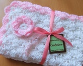 Crochet baby blanket - Baby Girl blanket -  White and Light Pink Flower Stroller/Travel/Car seat blanket- Baby girl shower gift
