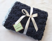 Baby Boy Blanket - Crochet baby blanket Navy Blue/Light Blue Shells Stroller/Travel/Car seat blanket - Baby blanket- Baby boy shower gift