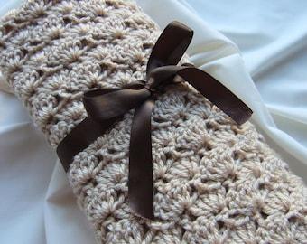 Baby Boy Blanket and Baby Girl Blanket  - Crochet baby blanket Neutral Light Tan Shells Stroller/Travel/Car seat blanket