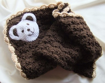 Baby Boy Blanket- Baby Girl Blanket - Crochet baby blanket - Dark Brown/Tan Polar Bear Stroller/Travel/Car seat blanket- Unisex baby blanket