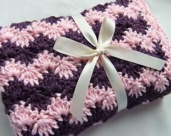 Baby Girl Blanket - Crochet baby blanket Pink & Plum Shell Waves Stroller/Travel/Car seat size - Baby girl blanket - Baby girl shower gift