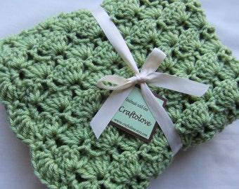 Baby Boy Blanket or Baby Girl Blanket - Crochet baby blanket - Matcha Green Tea Shells Stroller/Travel/Car seat size - Unisex Baby blanket