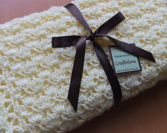 Baby Girl Blanket - Crochet baby blanket - Baby girl shower gift - Baby blanket - Crib size Lemon Yellow Shells Baby Girl Blanket