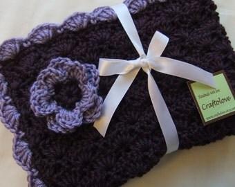 Crochet Baby Blanket - Baby Girl Blanket Plum Wine/Lavender Shells Stroller/Travel/Car seat with Flower- Baby girl shower gift- Baby blanket