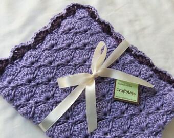 Baby Girl blanket - Crochet baby girl blanket - Lavender and PurplePanel Shells Stroller/Travel/Car seat blanket- Baby girl shower gift