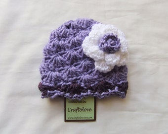 Baby Girl Hat Beanie - Lavender/Purple with White Rose  - CHOOSE YOUR SIZE - Photography props