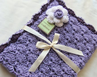 Crochet baby blanket - Baby Girl Blanket - Lavender/ Purple Panel Shells with Rose Stroller/Travel/Car seat  blanket- Photography props