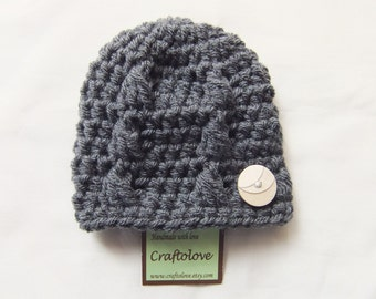Crochet Baby Boy hat - Baby Boy Hats - Charcoal Grey Hat with Button -  CHOOSE YOUR SIZE - Newborn Photography props