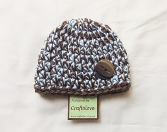 Baby Boy Hats - Crochet Baby Boy hat - Chunky Blue and Brown Hat with Button -  CHOOSE YOUR SIZE - Newborn Photography props