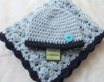 Crochet baby blanket- Baby Boy Shower Gift - Baby boy Blanket Silver Blue/Navy blue Stroller/Travel size and Button Hat