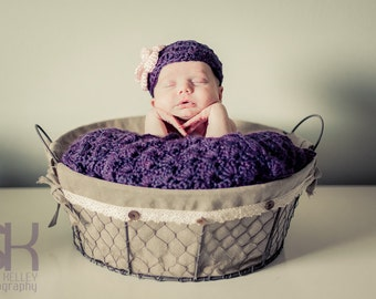 Baby Girl Shower Gift Set - Baby Girl Blanket - Crochet baby blanket Plum wine Shells and flower Hat - Photography props
