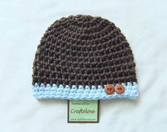 Baby boy hat - Crochet baby hat - Dark Brown/ Light Bue Baby Boy Beanie - CHOOSE YOUR SIZE - Photography props