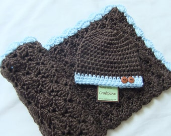 Crochet baby blanket - Baby Boy Shower gift - Dark Brown/ Light blue Baby Boy blanket and brown button hat