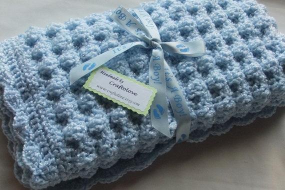 Puffy Crochet Baby Blanket Pattern : Baby Boy Blanket Crochet baby blanket Soft Blue Puffy