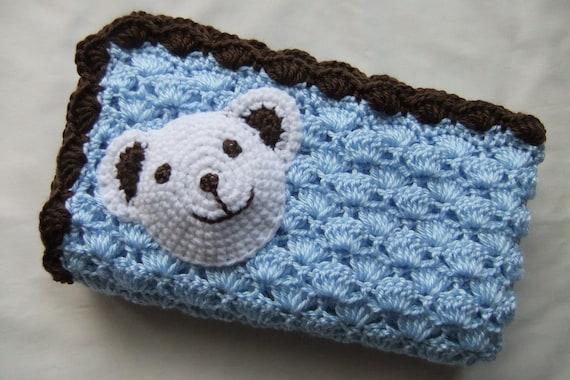 Baby Boy Blanket - Crochet baby blanket -Blue/Chocolate Polar Bear Stroller/Travel/Car seat blanket- Baby boy shower gift- Photography props