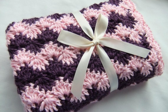 Baby Girl Blanket - Crochet baby blanket Pink & Plum Shell Waves Stroller/Travel/Car seat size - Baby girl blanket - Baby girl shower gift