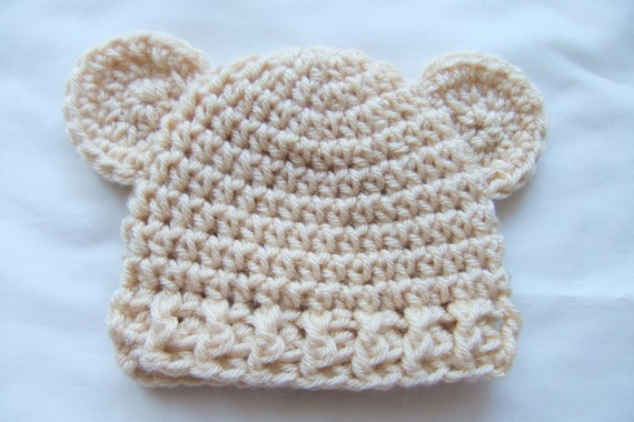 Baby boy hats - Crochet baby boy hat - Natural Beige Teddy Bear Baby Beanie - CHOOSE YOUR SIZE -  Newborn Photography props