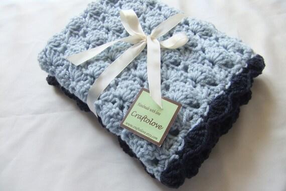 Crochet baby blanket - Baby Boy Blanket Silver blue/Navy blue Shells Stroller/Travel/Car seat blanket- Baby boy shower gift- Baby blanket