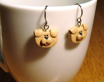Yellow Lab Puppy Dog Earrings French Wire Polymer Clay Jewelry