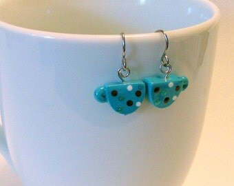 Coffee Cup Earrings Blue with Polka Dots