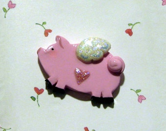When Pigs Fly - Flying Pig Polymer Clay Jewelry Lapel Pin Brooch